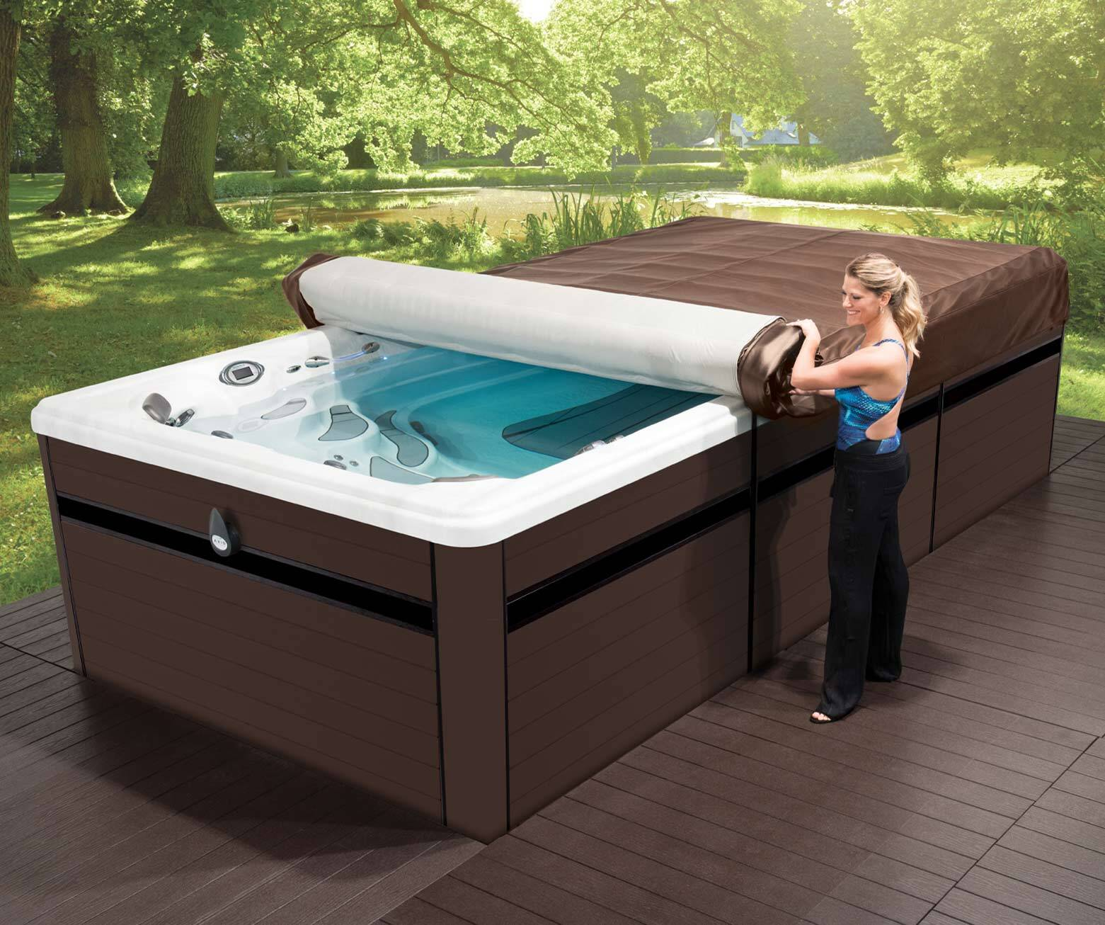 axis cover system easily unrolled on an h2x swim spa by master spas