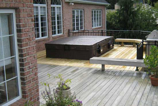 Newly finished deck with covered swim spa