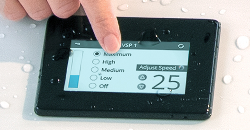 Touch screen to control your swim spa current strength