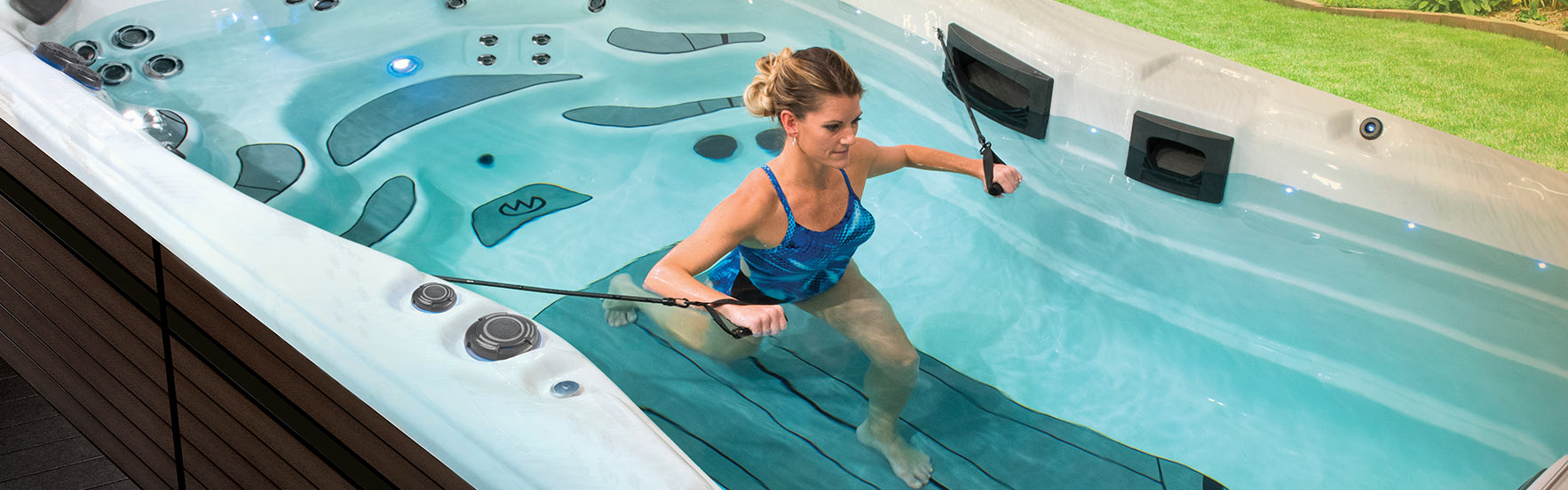 exercising in a swim spa prevents leaving the privacy of your backyard to work out at the gym