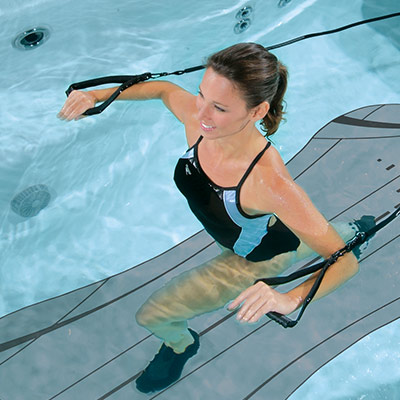 Easily keep your traction on the swim spa floor with SoftTread by SwimDek