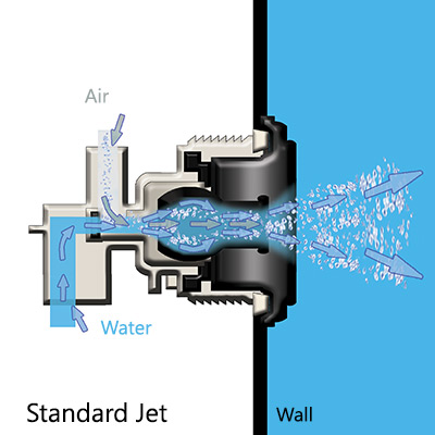 diagram of what a standard swim spa jet looks like