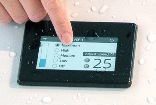 Easily control the speed of the current in your swim spa with the touch screen control panel
