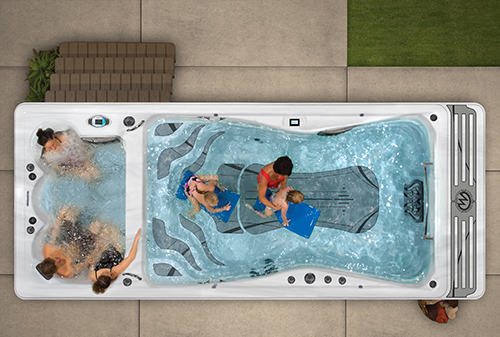 Top down view of a challenger 19 D swim spa installation