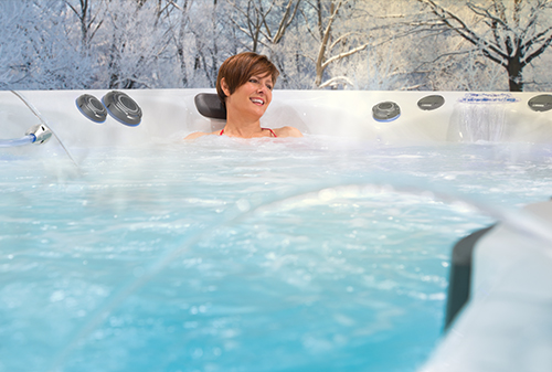 You can enjoy your swim spa year round, even in the cold winter snow